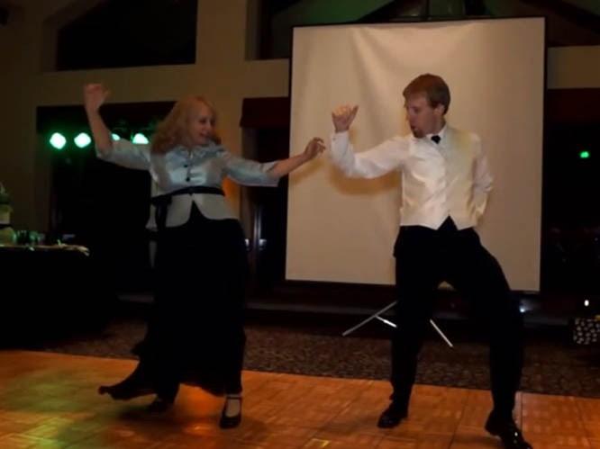 Anne oğuldan efsane düğün dansı